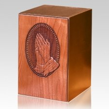 Carved Praying Hands Wood Cremation Urn