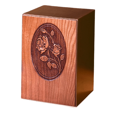 Carved Roses Wood Cremation Urn