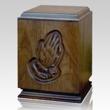 Classic Praying Hands Wood Cremation Urn