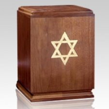 Classic Star of David Wood Cremation Urn