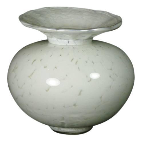 Venetia White Glass Pet Urn
