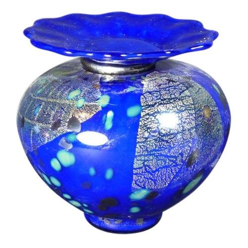 Venetia Blue Glass Pet Urn