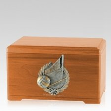 Volleyball Fan Oak Cremation Urn