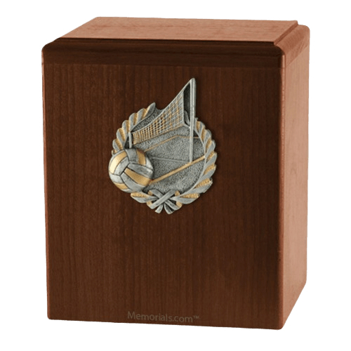 Volleyball Walnut Cremation Urn