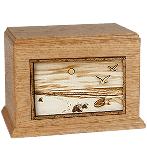 Walk On The Beach Oak Companion Urn