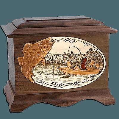 Walleye Fishing Walnut Cremation Urn For Two