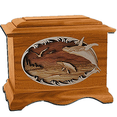 Whales Mahogany Cremation Urn for Two
