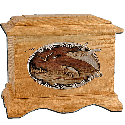 Whales Oak Cremation Urn for Two