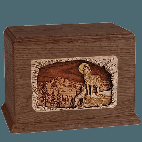 Wolves Walnut Companion Urn