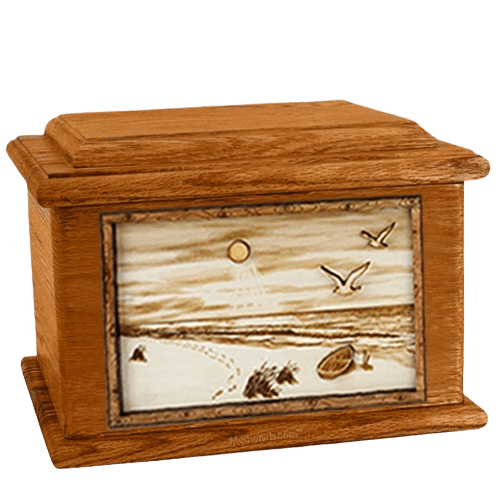 Walking on the Beach Mahogany Memory Chest Cremation Urn