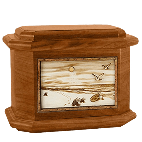 Walking on the Beach Mahogany Octagon Cremation Urn