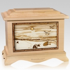 Walking on the Beach Maple Cremation Urn