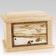 Walking on the Beach Maple Memory Chest Cremation Urn