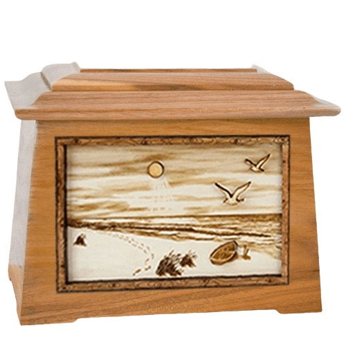 Walking on the Beach Oak Aristocrat Cremation Urn
