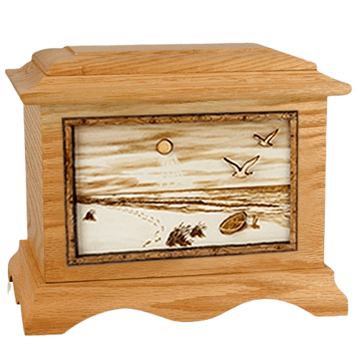 Walking on the Beach Oak Cremation Urn