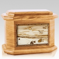 Walking on the Beach Oak Octagon Cremation Urn