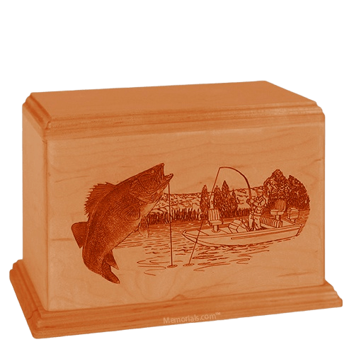Walleye Companion Mahogany Wood Urn