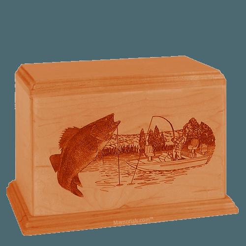 Walleye Companion Mahogany Wood Urn
