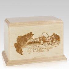Walleye Companion Maple Wood Urn
