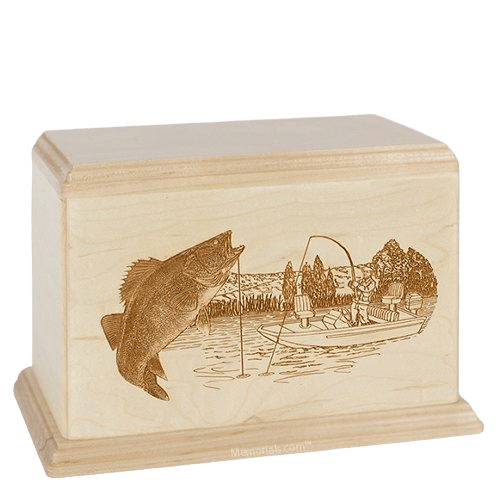 Walleye Companion Maple Wood Urn