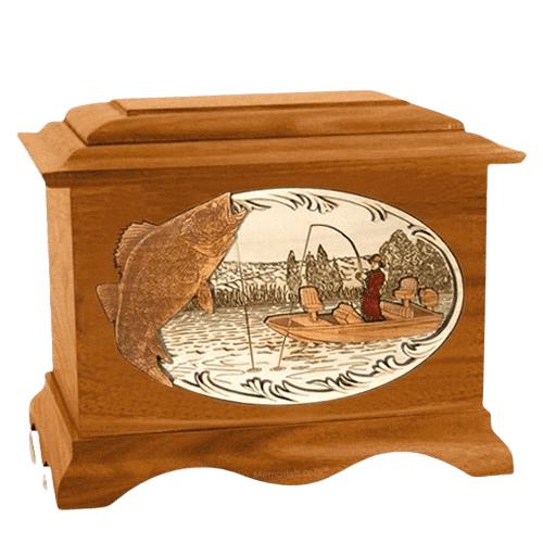 Walleye Fishing Mahogany Cremation Urn