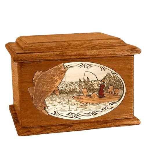 Walleye Fishing Mahogany Memory Chest Cremation Urn