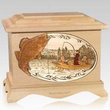 Walleye Fishing Maple Cremation Urn