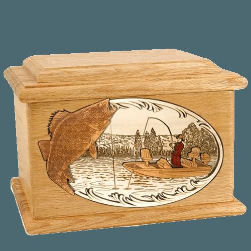 Walleye Fishing Oak Memory Chest Cremation Urn