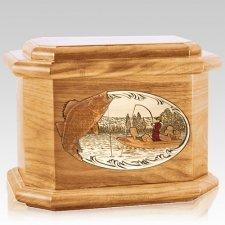 Walleye Fishing Oak Octagon Cremation Urn
