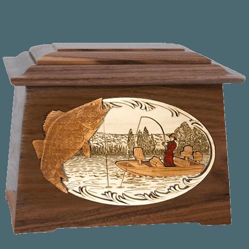 Walleye Fishing Walnut Aristocrat Cremation Urn