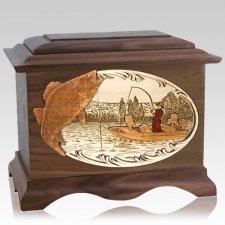 Walleye Fishing Walnut Cremation Urn
