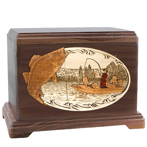Walleye Fishing Walnut Hampton Cremation Urn