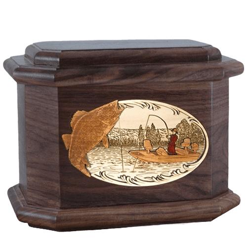 Walleye Fishing Walnut Octagon Cremation Urn