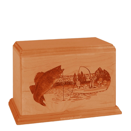 Walleye Individual Mahogany Wood Urn