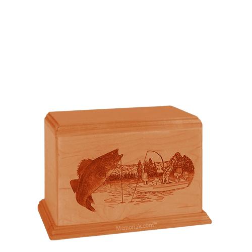 Walleye Small Mahogany Wood Urn