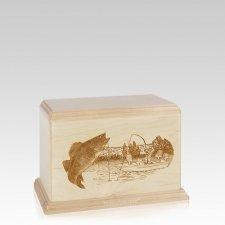 Walleye Small Maple Wood Urn