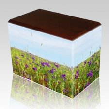 Field of Violets Walnut Child Cremation Urn II