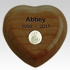 Walnut Heart Print Pet Keepsake Urn