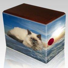Heavenly Clouds Walnut Pet Picture Urn III