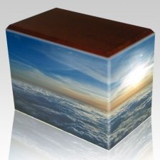 Heavenly Clouds Walnut Child Cremation Urn III