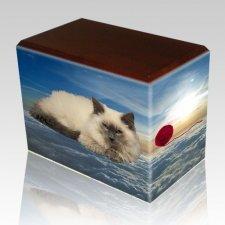 Heavenly Clouds Walnut Pet Picture Urn II