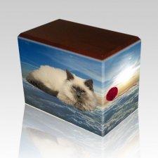 Heavenly Clouds Walnut Pet Picture Urn