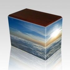 Heavenly Clouds Walnut Child Cremation Urn
