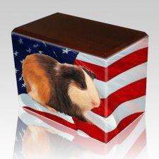 US Flag Walnut Pet Picture Urn II