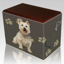 Dog Prints Walnut Pet Picture Urn III