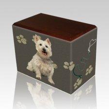 Dog Prints Walnut Pet Picture Urn
