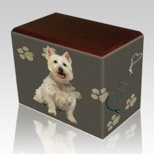 Dog Prints Walnut Pet Picture Urn II
