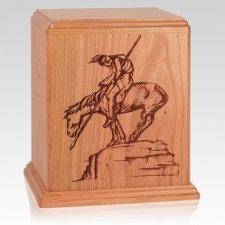 Warrior Cherry Wood Cremation Urn