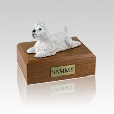 Westie Laying Medium Dog Urn