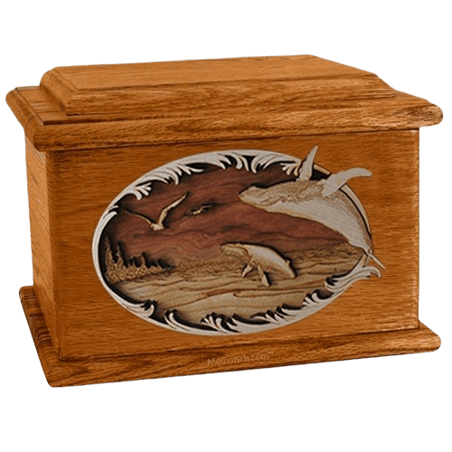 Whale & Calf Mahogany Memory Chest Cremation Urn